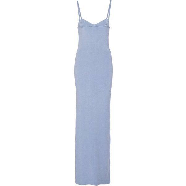 Nina Ricci Ribbed Knit Silk Maxi Dress 12 270 Egp Liked On Polyvore Featuring Dresses Light Blue Silk Ribbed Knit Dress Maxi Dress Blue Silk Maxi Dress