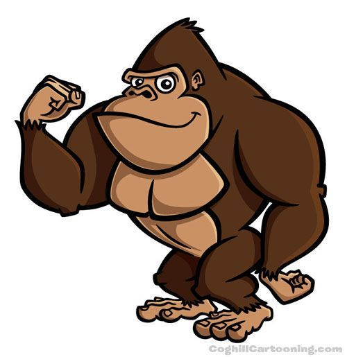Gorilla Cartoon Character Illustration Gorilla Illustration
