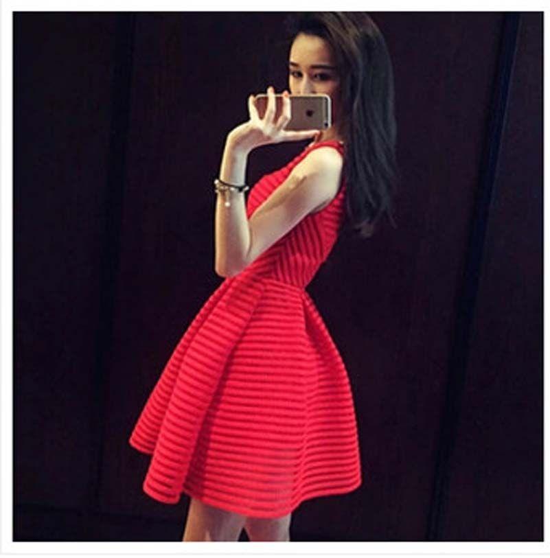 b752f9841 Elegante gasa Rayada Vestidos Americanos Europeos Gasa Vestido de Fiesta  Vestidos Negro Rojo Blanco vestido de espalda NS1823 en Vestidos de Moda y  ...