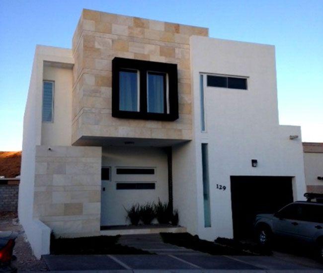 Fachada moderna dos niveles 650 550 fachadas for Fachadas de viviendas modernas