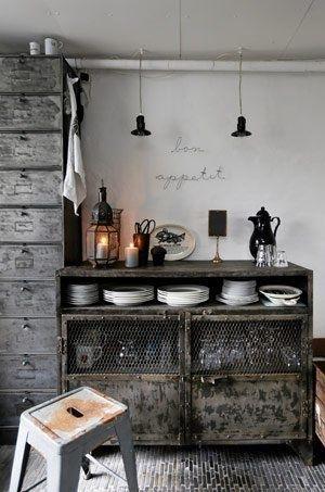 3 Industrial Loft Kitchen Buffet Table Storage