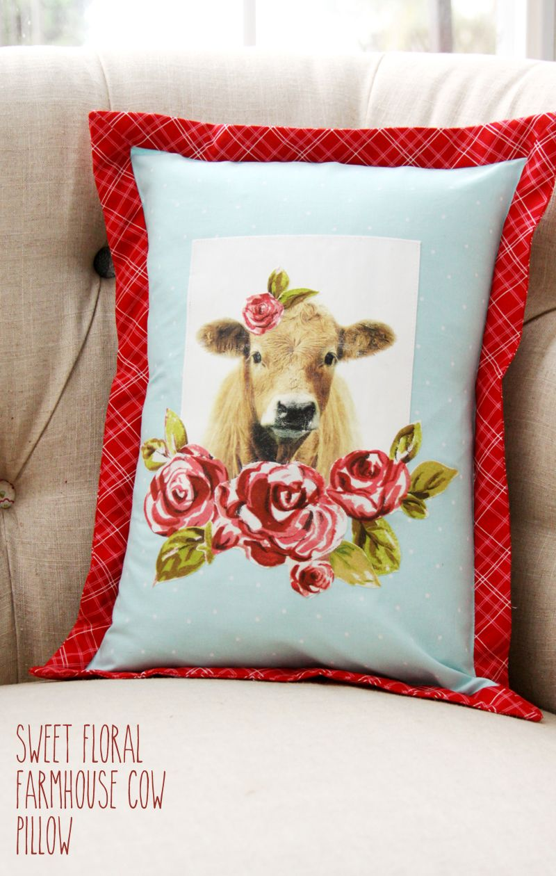 This sweet floral farmhouse cow pillow is just what you need for your colorful farmhouse room! It's made with Mod Podge Photo Transfer Medium too!