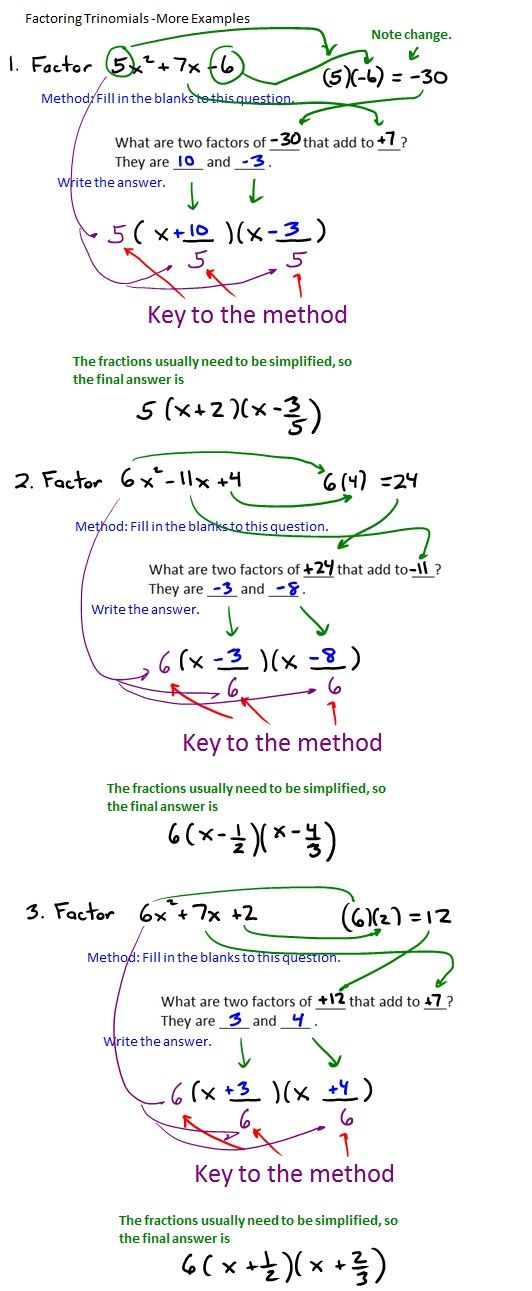 The Best Way To Factor Trinomials Algebra Pinterest Math