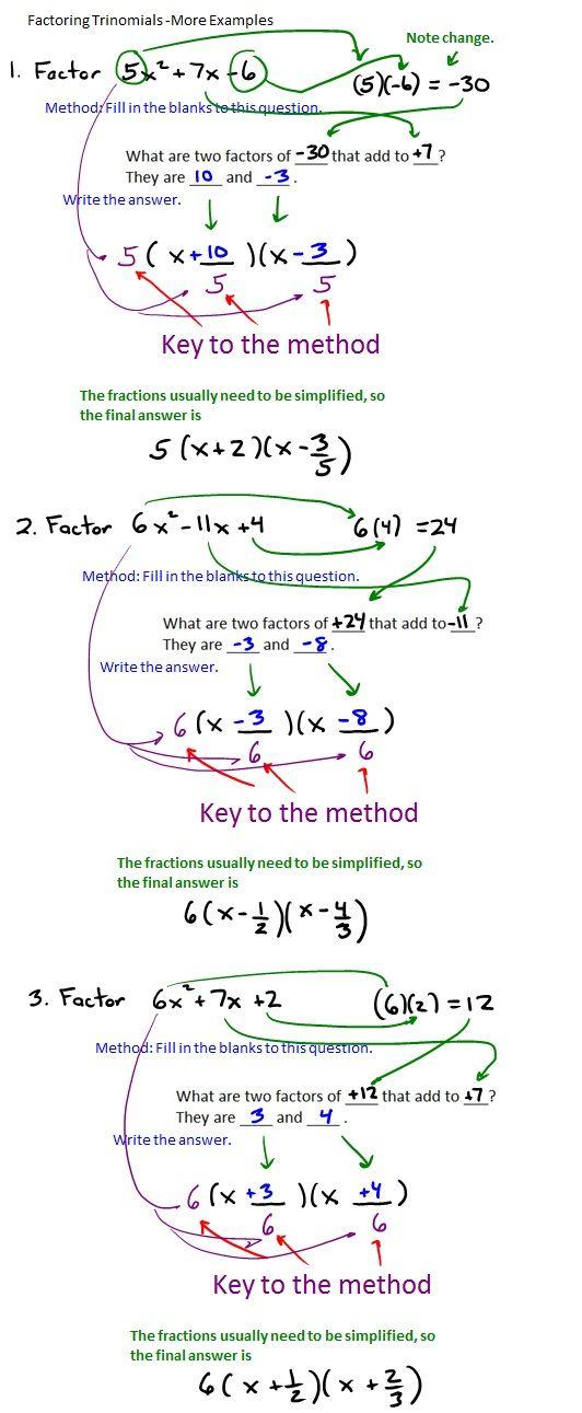 The Best Way To Factor Trinomials Factor Trinomials Math Formulas Studying Math