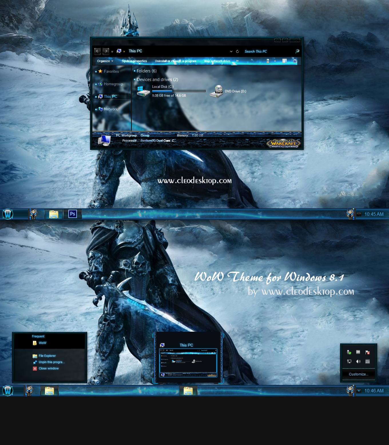 WoW Theme For Windows 8 1 Cleodesktop Mod Desktop
