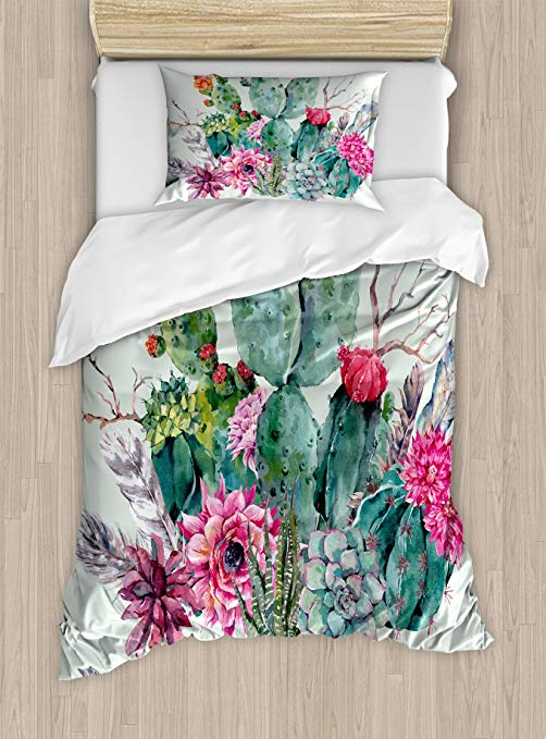 Ambesonne Cactus Duvet Cover Set, Spring Garden with Boho Style Bouquet of Thorny Plants Blossoms Arrows Feathers, Decorative 2 Piece Bedding Set with 1 Pillow Sham, Twin Size, Mint Green