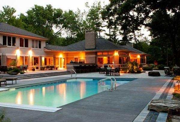Moderne luxushäuser mit pool  101 Bilder von Pool im Garten - privat garten integriert pool im ...