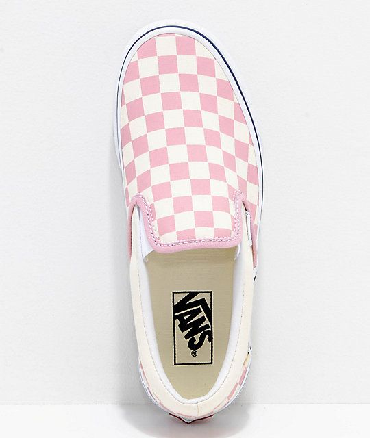 02ad8c46c8 Vans Slip-On Zephyr Pink   White Checkered Skate Shoes in 2019 ...