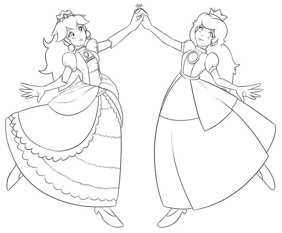 Princess Peach And Daisy Ea And Ai When Two Vowels Go Walking The First One Does The Talking Coloring Pages Princess Peach Color