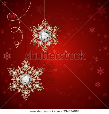 Vintage Gold Jewelry Snowflakes With Diamonds On Red Background