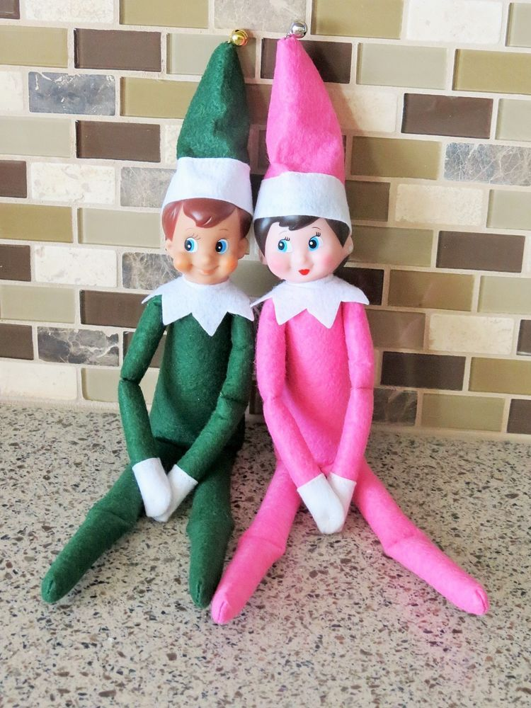 Elf On The Shelf Plush Toy Christmas Green And Pink Set Boy And