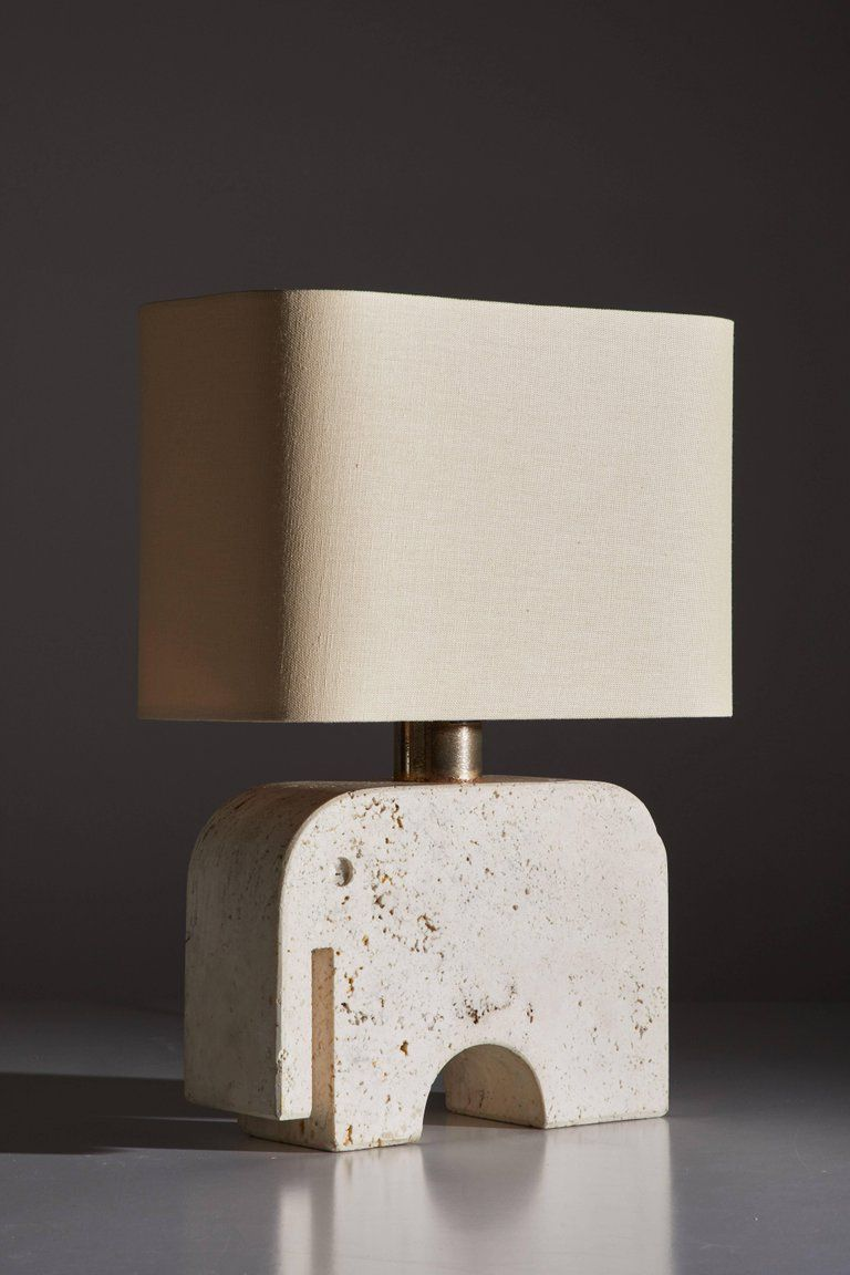 Travertine Elephant Table Lamp by Fratelli Manelli In Good