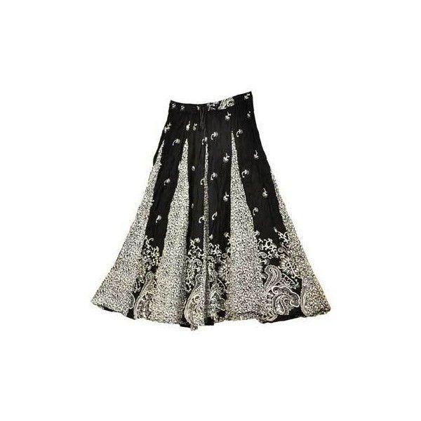 rayon Black Skirt ❤ liked on Polyvore featuring skirts, black knee length skirt, black print skirt, tie dyed skirts, pattern skirt and elastic waist skirt