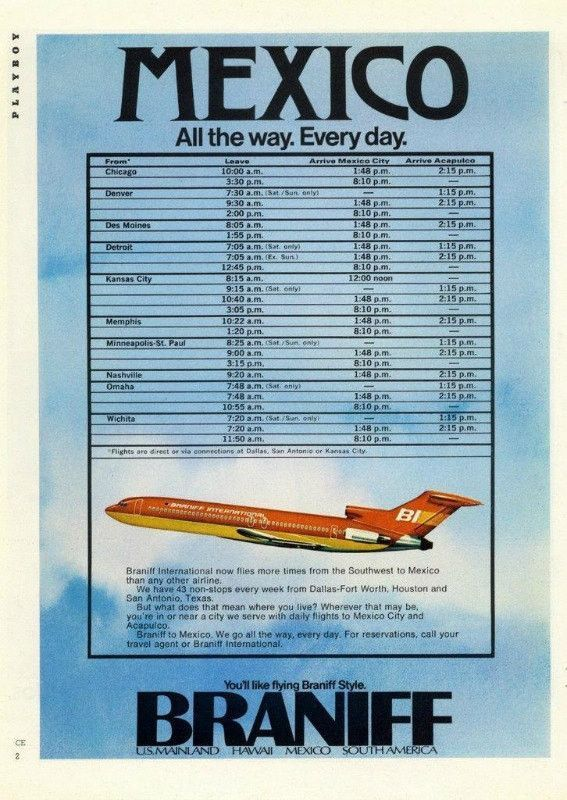 1973 Braniff Airplane Airline Ad Quot Mexico Quot Legacy