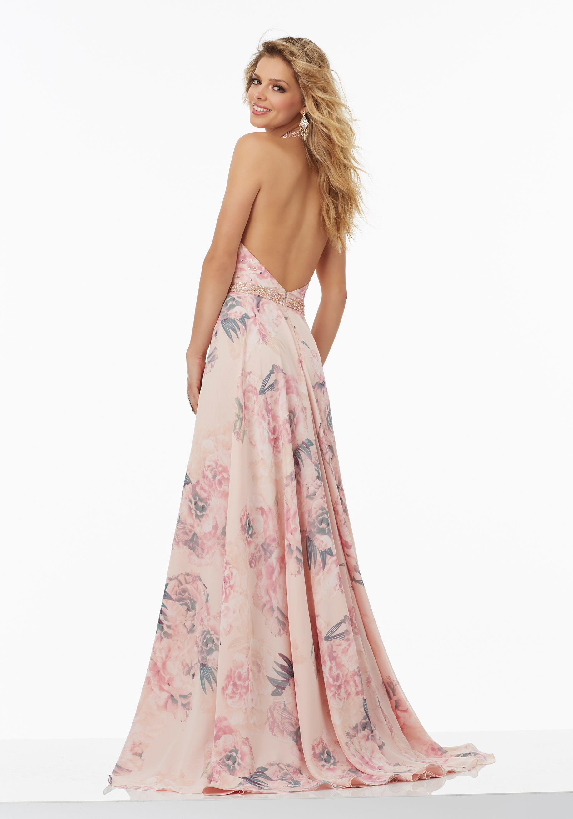 73eba570822 Floral Printed Chiffon Prom Dress with Delicately Beaded Bodice