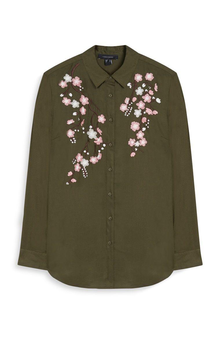 *PRIMARK || Khaki embroidered shirt | Camisa caqui bordada