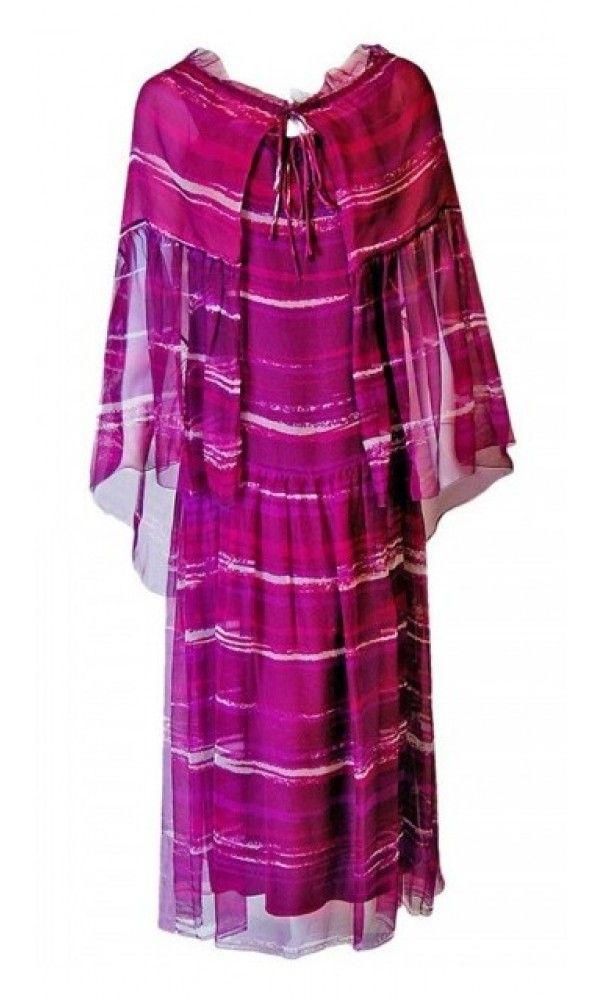 4751e534d2 1977 Christian Dior Haute-Couture Purple Abstract-Print Chiffon Dress   Cape