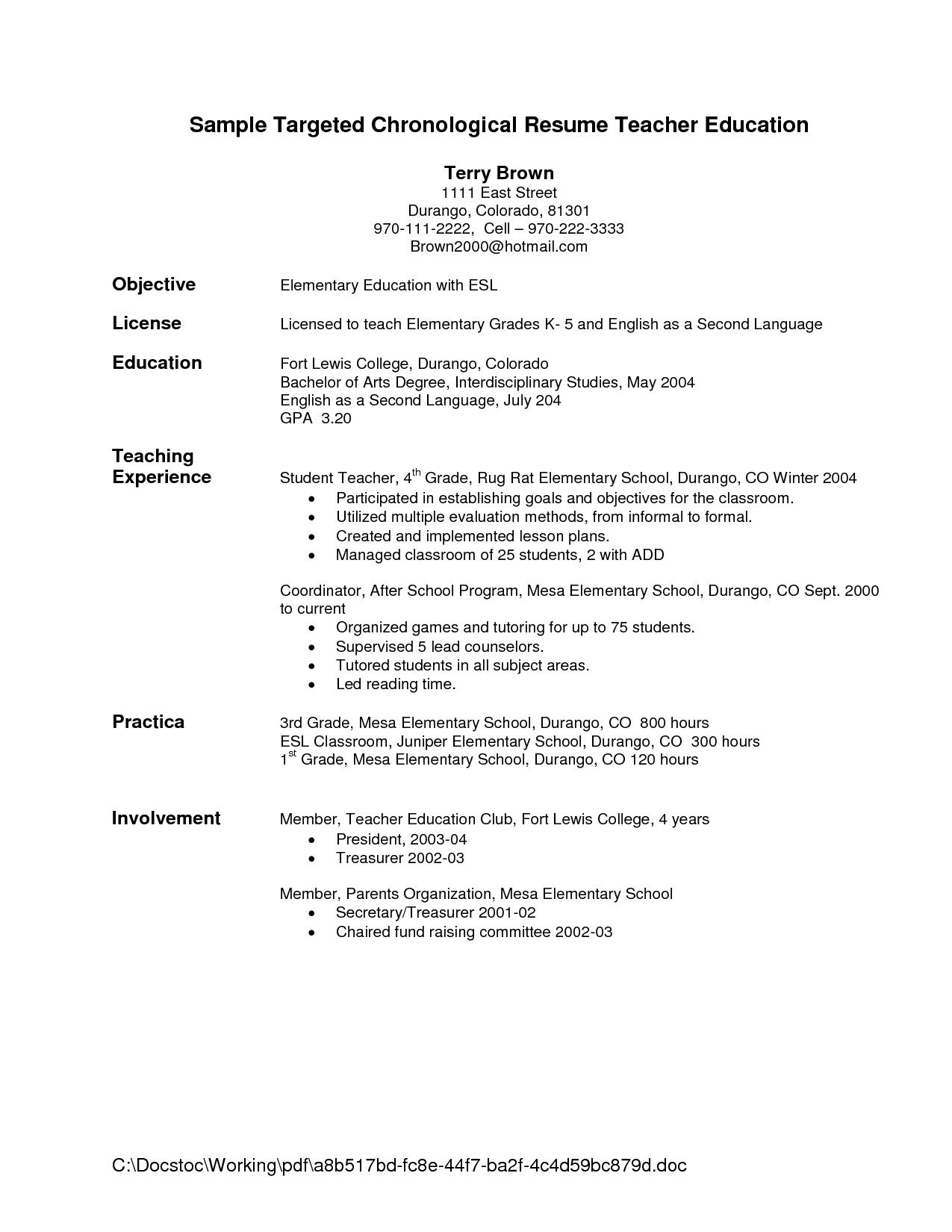 resume objective statement for teacher