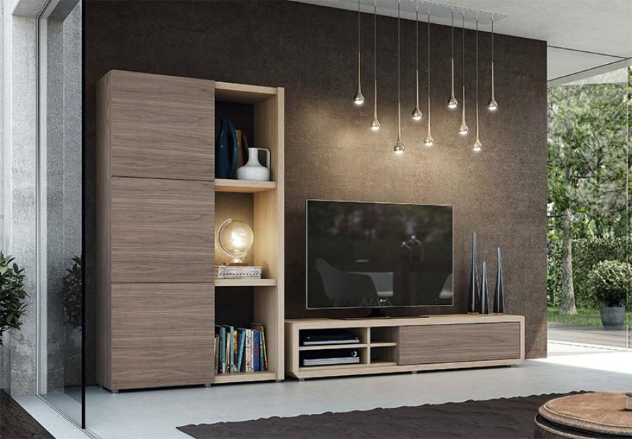 Modern And Stylish TV Unit And Tall Cabinet Composition In Various Wood,  Matt And High