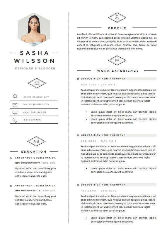 5 Page Resume Template Cv Template Pack Cover Letter For Etsy Modele Cv Cv Digital Curriculum Vitae