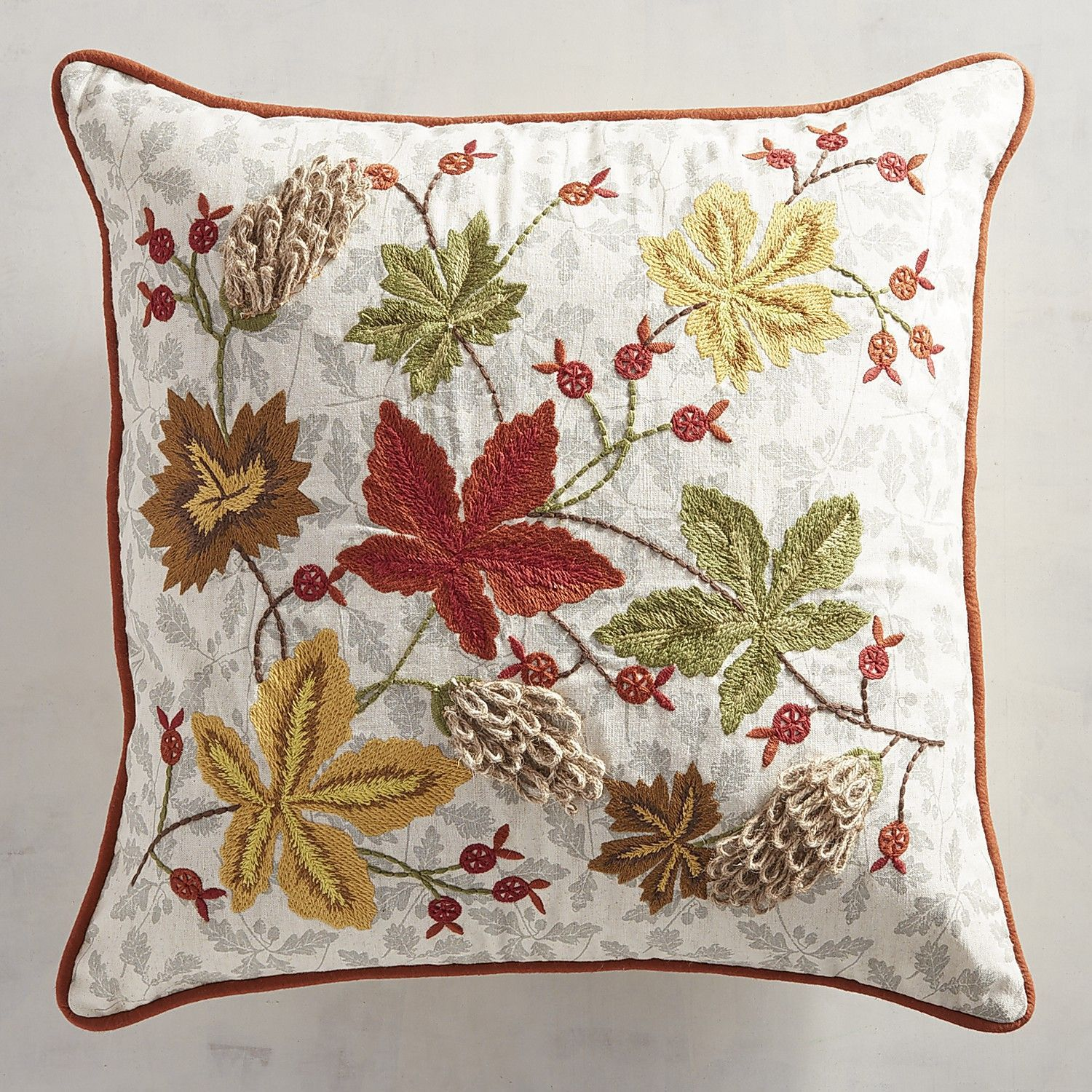 Allover Embroidered Leaves Pillow Products Fall