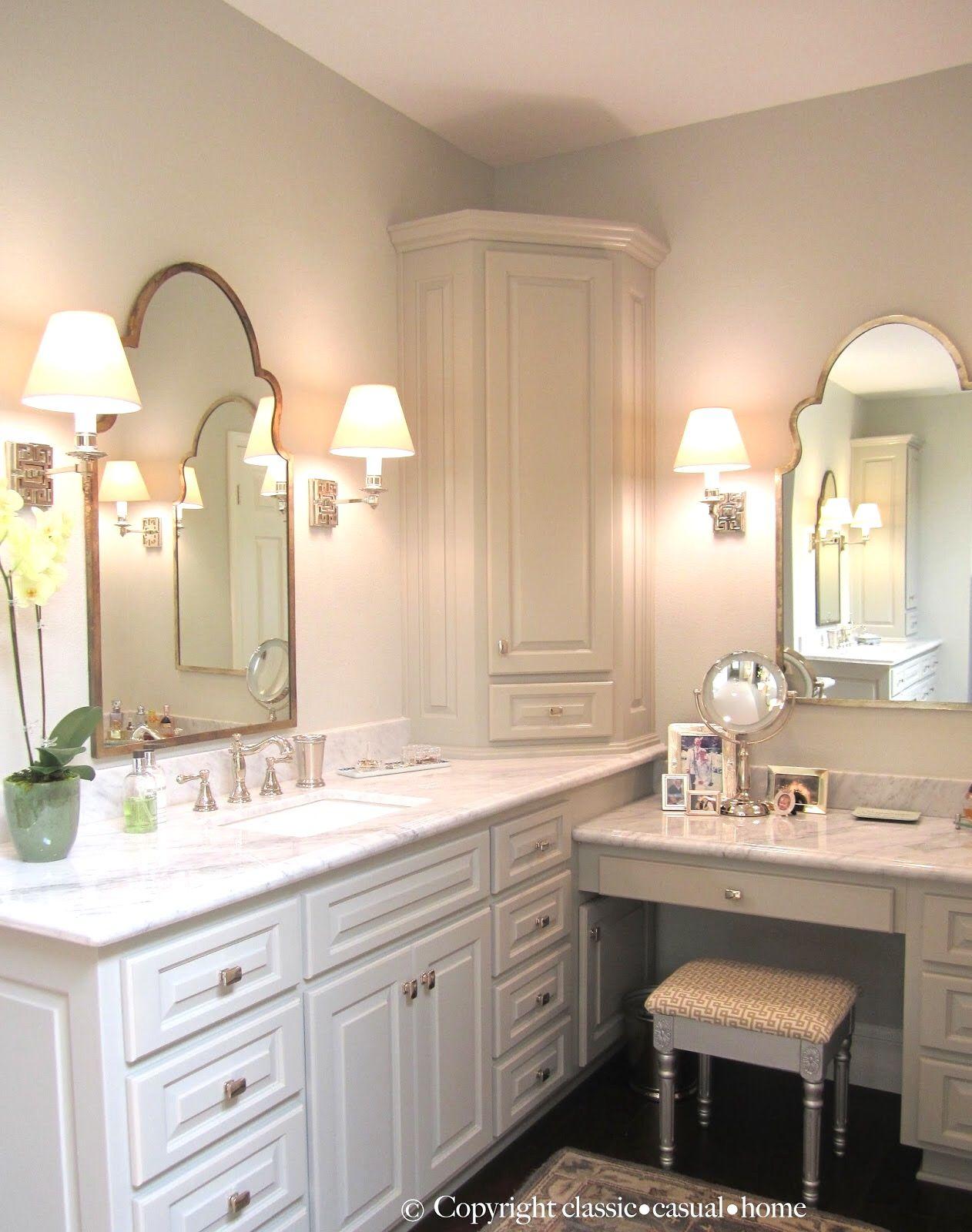 Wall color Vapor Trails Benjamin Moore Home InteriorsCorner Vanity Table Bathroom