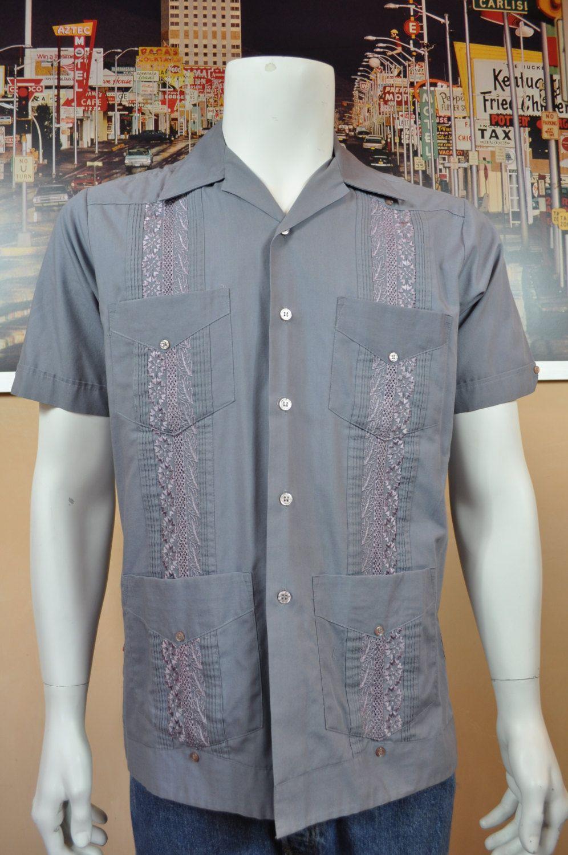 f759e160 Men's Romani Collection Guayabera Shirt Mexican Wedding Shirt Cuban Smoking  Festive Event Shirt Medium Dark Grey with Embroidery Grey Stitch by ...