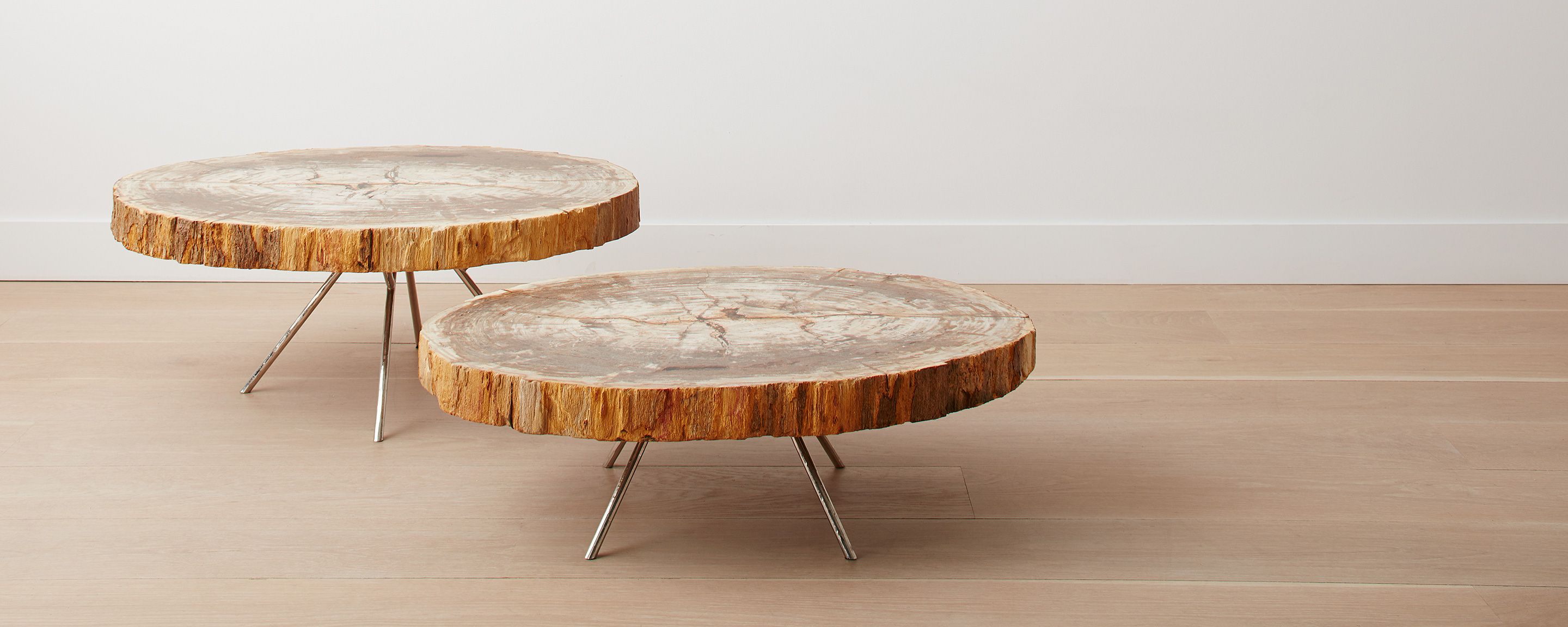 Raw edge polished petrified wood nesting tables with distressed