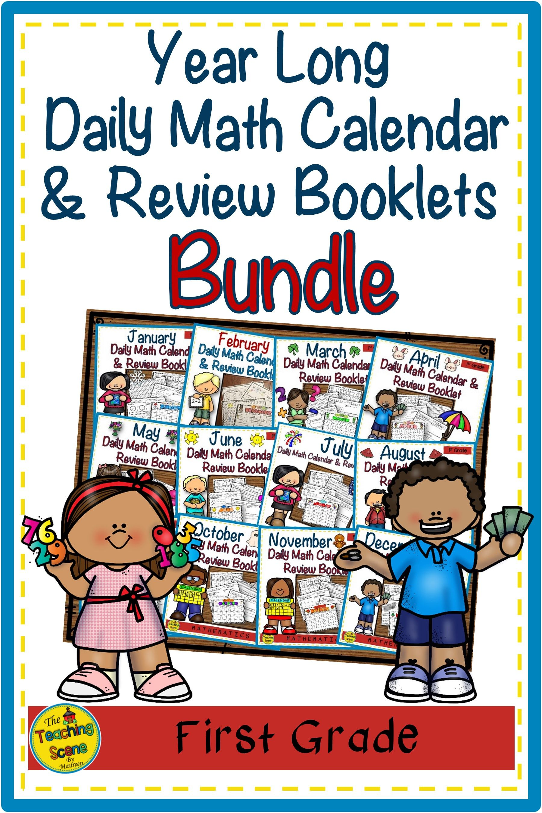 Year Long First Grade Monthly Daily Math Calendar Amp Review