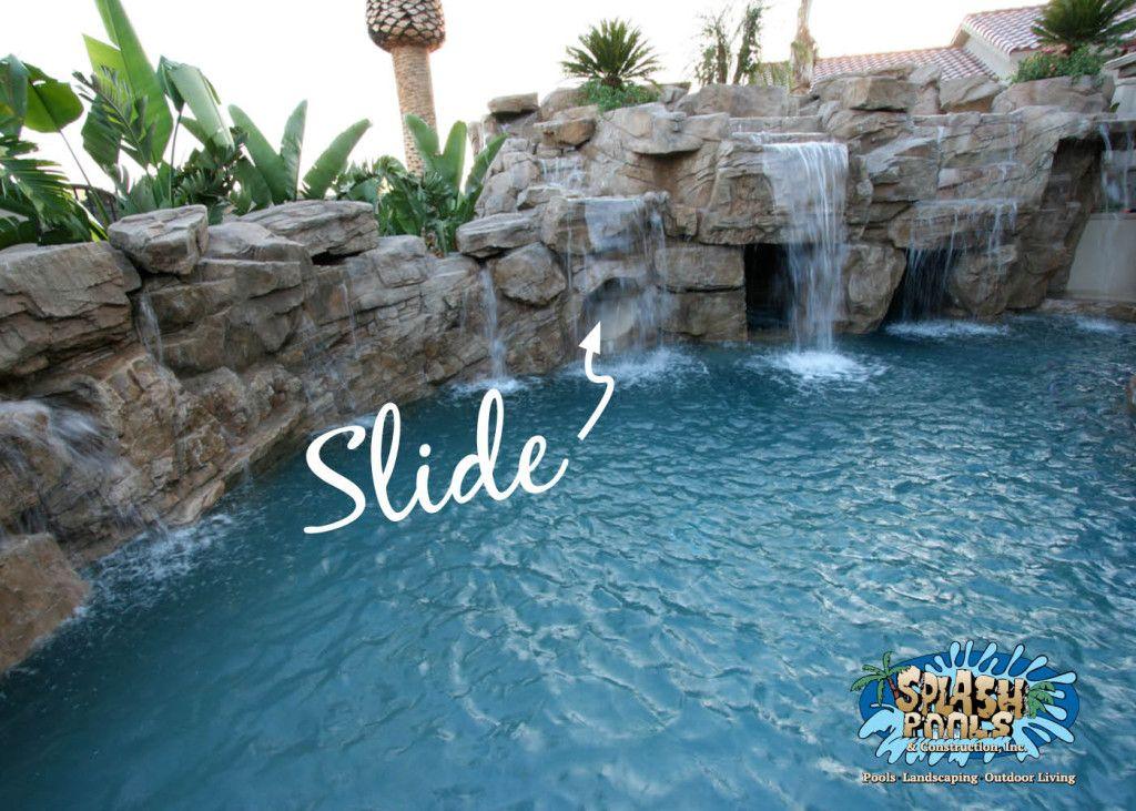 pool design for kids, slide, rock waterfall | Rock Swimming Pools ...