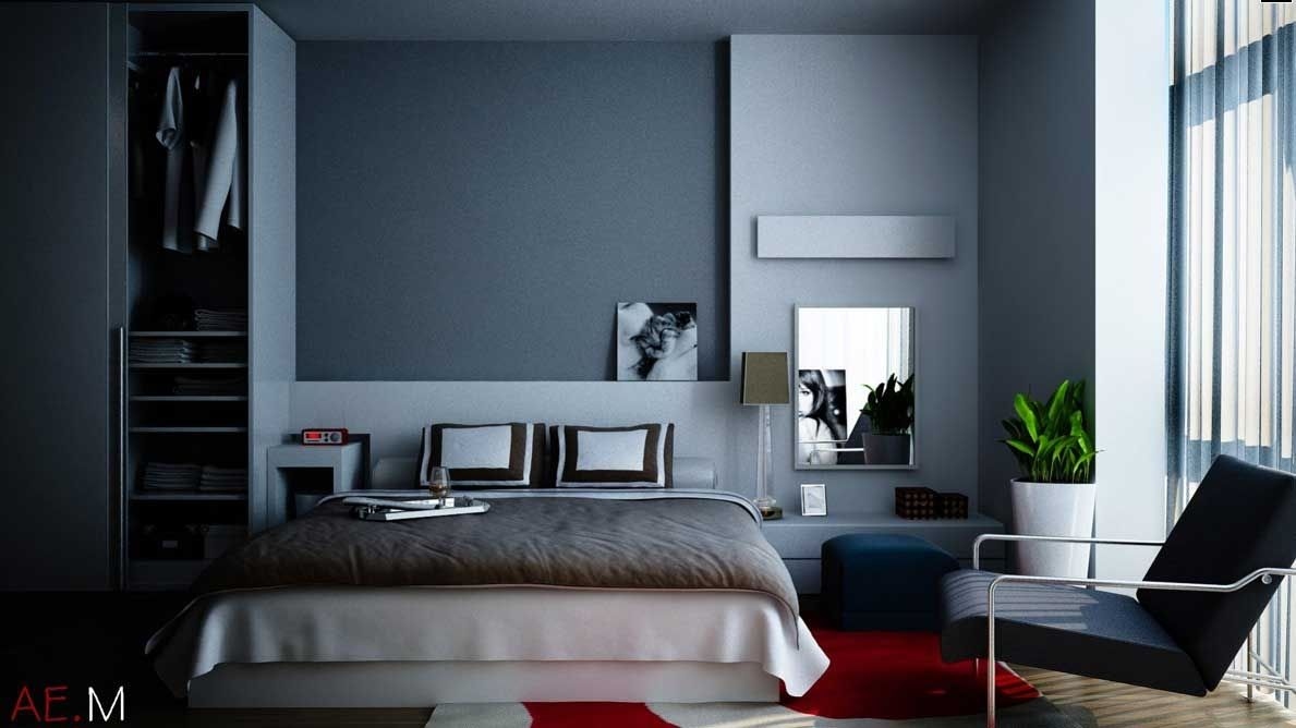 Modern Bedroom Design Decorating Ideas Dark Blue Grey Color Combination Red  Accent With Grey Color Interior