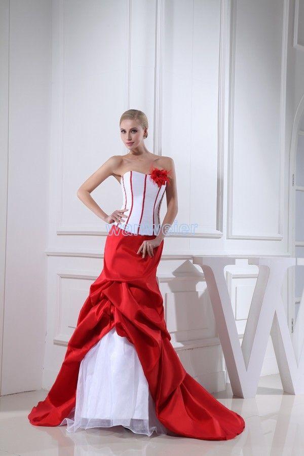 Strapless Mermaid Train Taffeta Organza White Red Wedding Dress With Flowers (ZJ7158) abb1b226a38