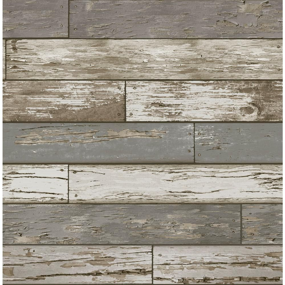 Nuwallpaper Scrap Wood Brown Vinyl Strippable Roll Covers 30 75 Sq Ft In 2020 Nuwallpaper Rustic Wallpaper Farmhouse Color Palette