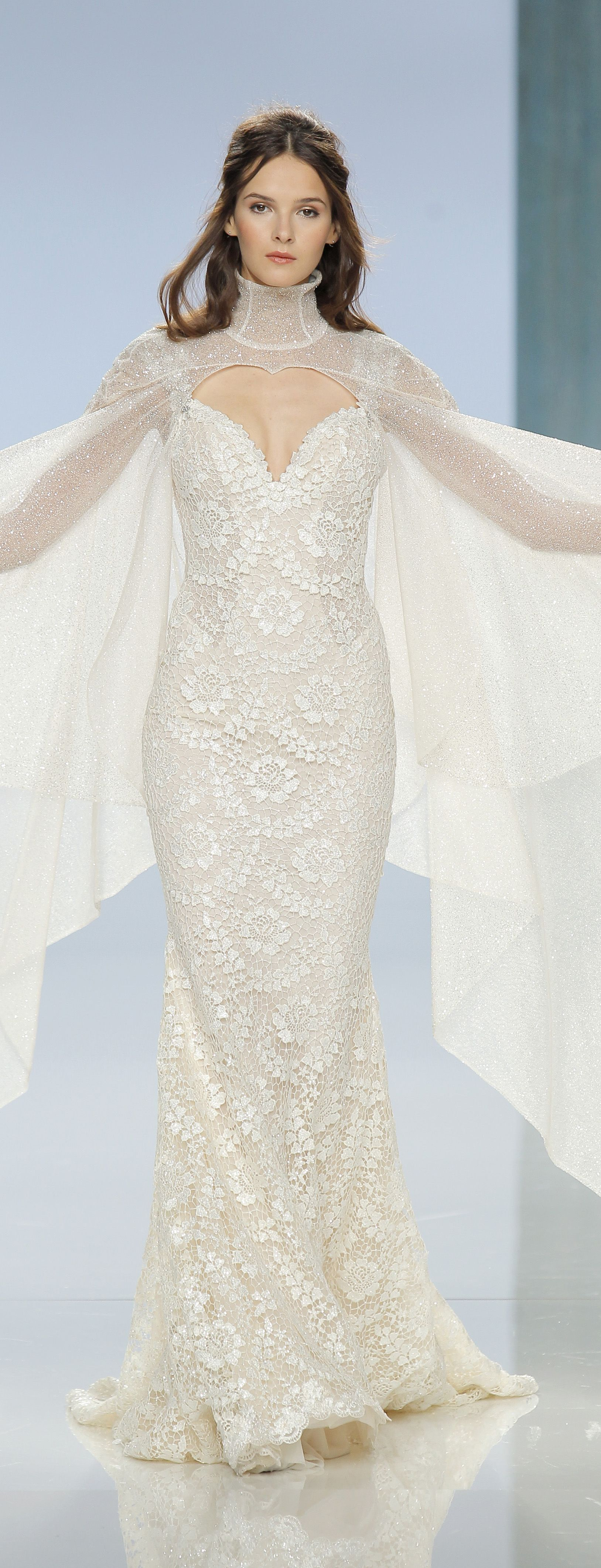 The rayne gown and sterling cape a mermaid column gown with a sheer