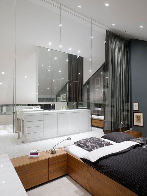 glazen wand tussen slaapkamer en badkamer | slaapkamer ideeën, Badkamer