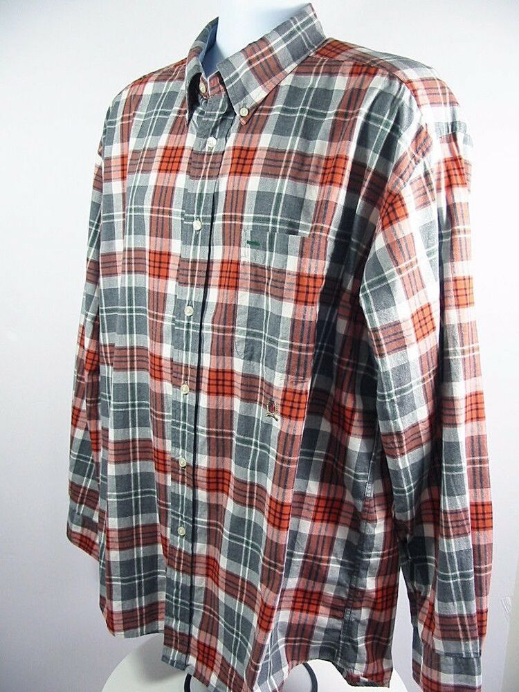 7fd801cd TOMMY HILFIGER Mens Casual Shirt Button Down Orange Gray Check Plaid Size XL  #TommyHilfiger #ButtonFront