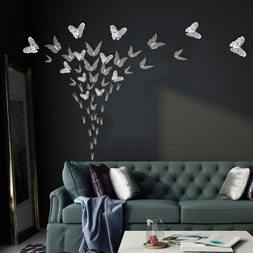 3d Butterfly Wall Decals Stickers Decorations Silver Hollowout 36