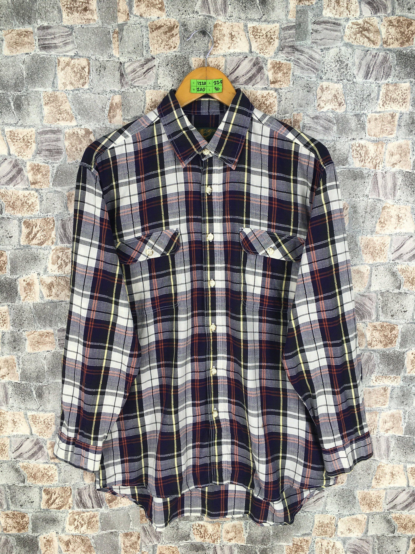 Mens Vintage Flannel Check Plaid Skater Shirt 90s
