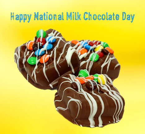 Happy National Milk Chocolate Day Everyone From Milk Chocolate Covered Brownies And Pretzels To Bars Bark An Chocolate Day Homemade Chocolate Chocolate Shop