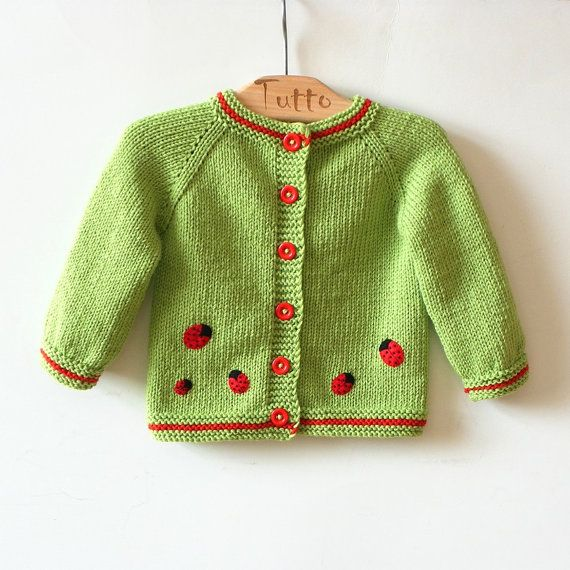 Light green baby swetaer with red ladybug knitted merino girls jacket MADE TO ORDER