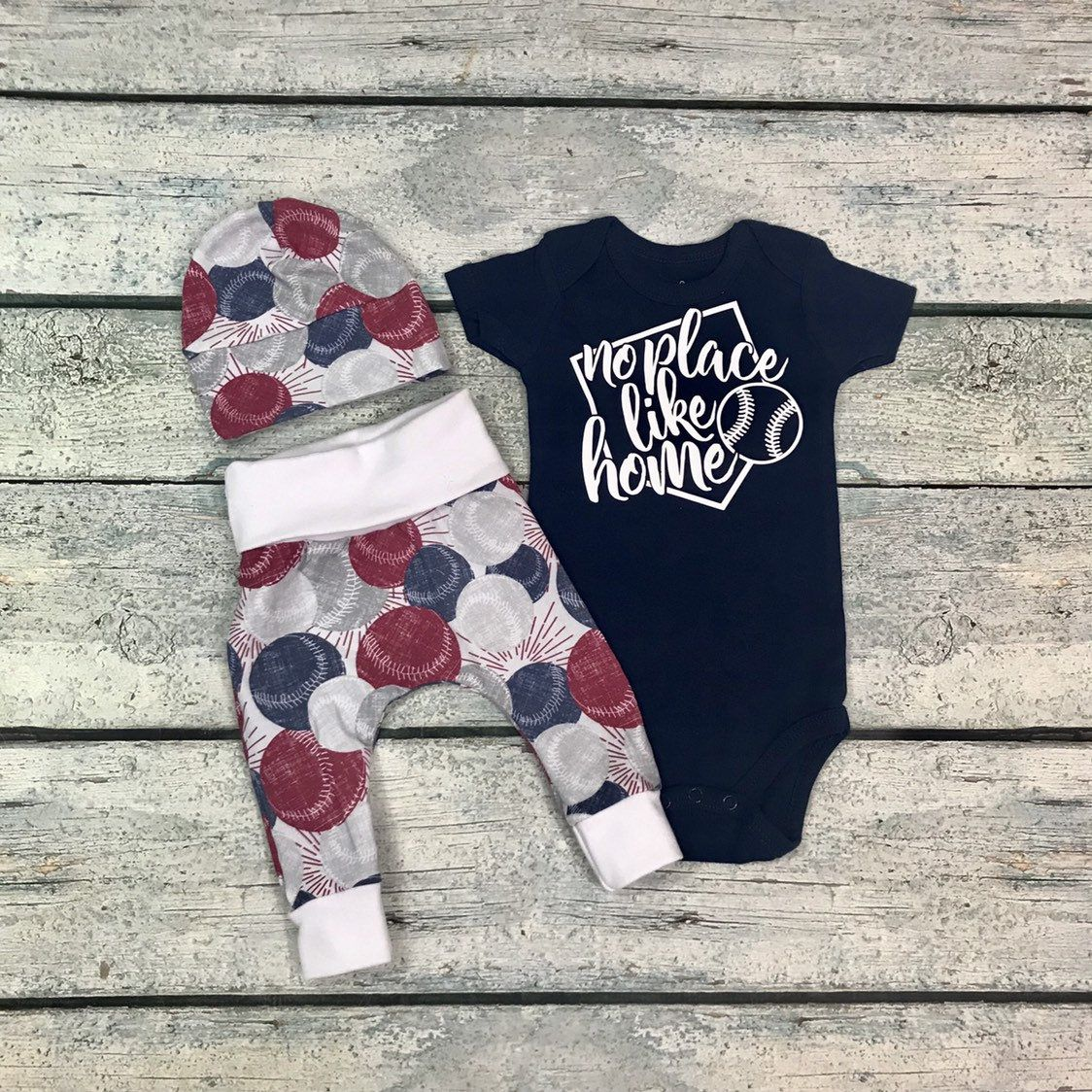 Photo of Newborn baby boy coming home outfit/no place like home baseball outfit