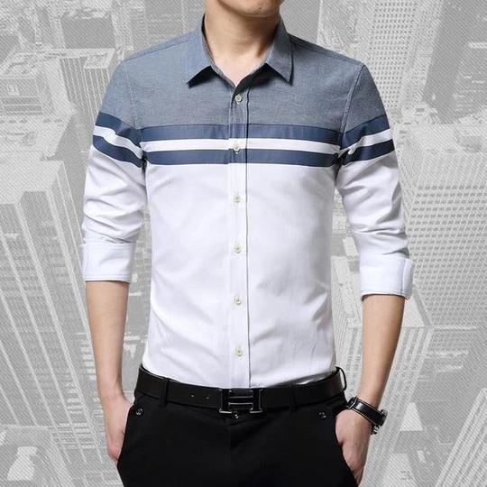 2017 Fashion Mens Shirts Brand Clothing Slim Fit Patchwork Stripe