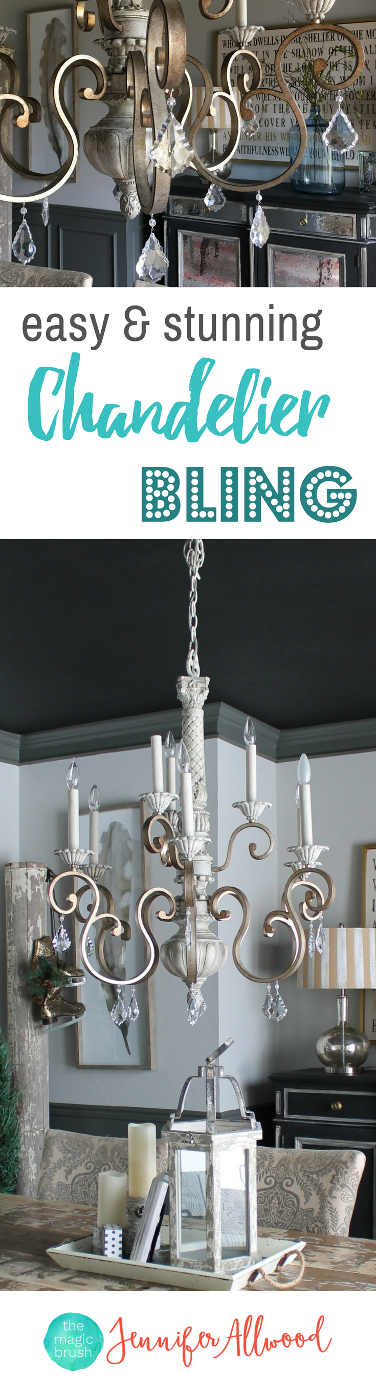 How to's : Jazz up any light fixture with chandelier bling!  Gorgeous Chandelier Crystals & Chandelier ornaments    Chandelier bling   Chandelier Ideas   Chandelier Makeover   The Magic Brush