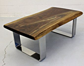 Chrome Leg Coffee Table The Live Edge Salvaged Maple Dining Custom By Livingwooddesign