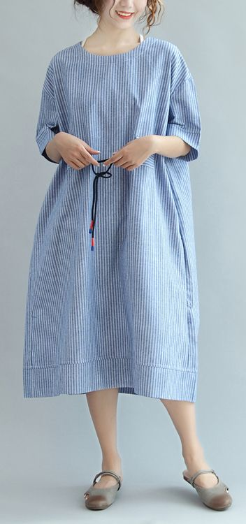 527af6b7ee5 blue white striped sundress cotton plus size casual summer dresses bracelet  sleeve maxi dress
