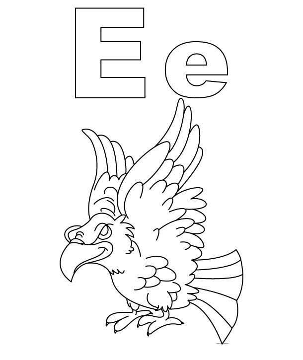 E For Eagle Coloring Pages