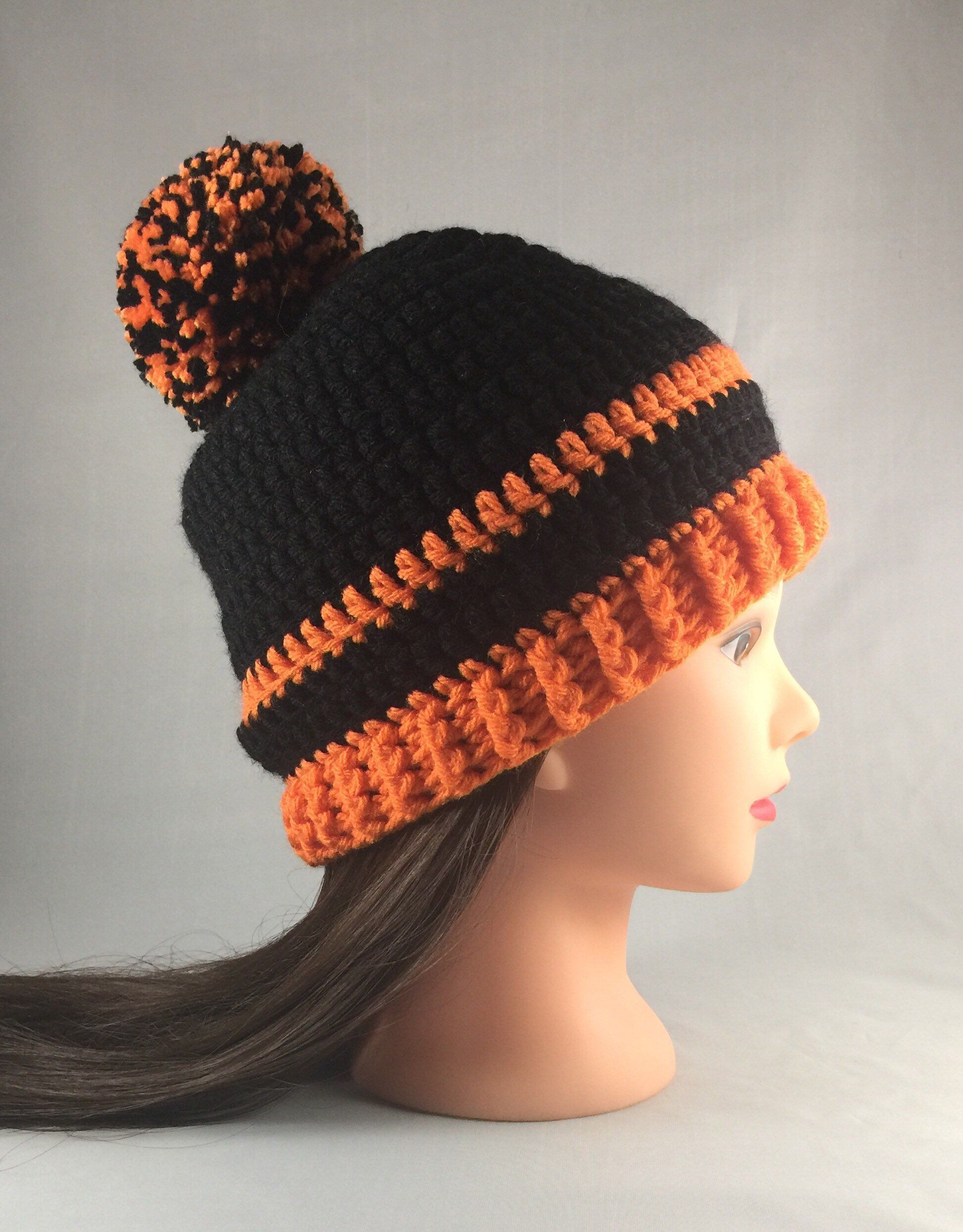 ea092d41781 ORIOLES FALL WINTER Pom Pom Hat - Orange and Black Beanie - Show your Team