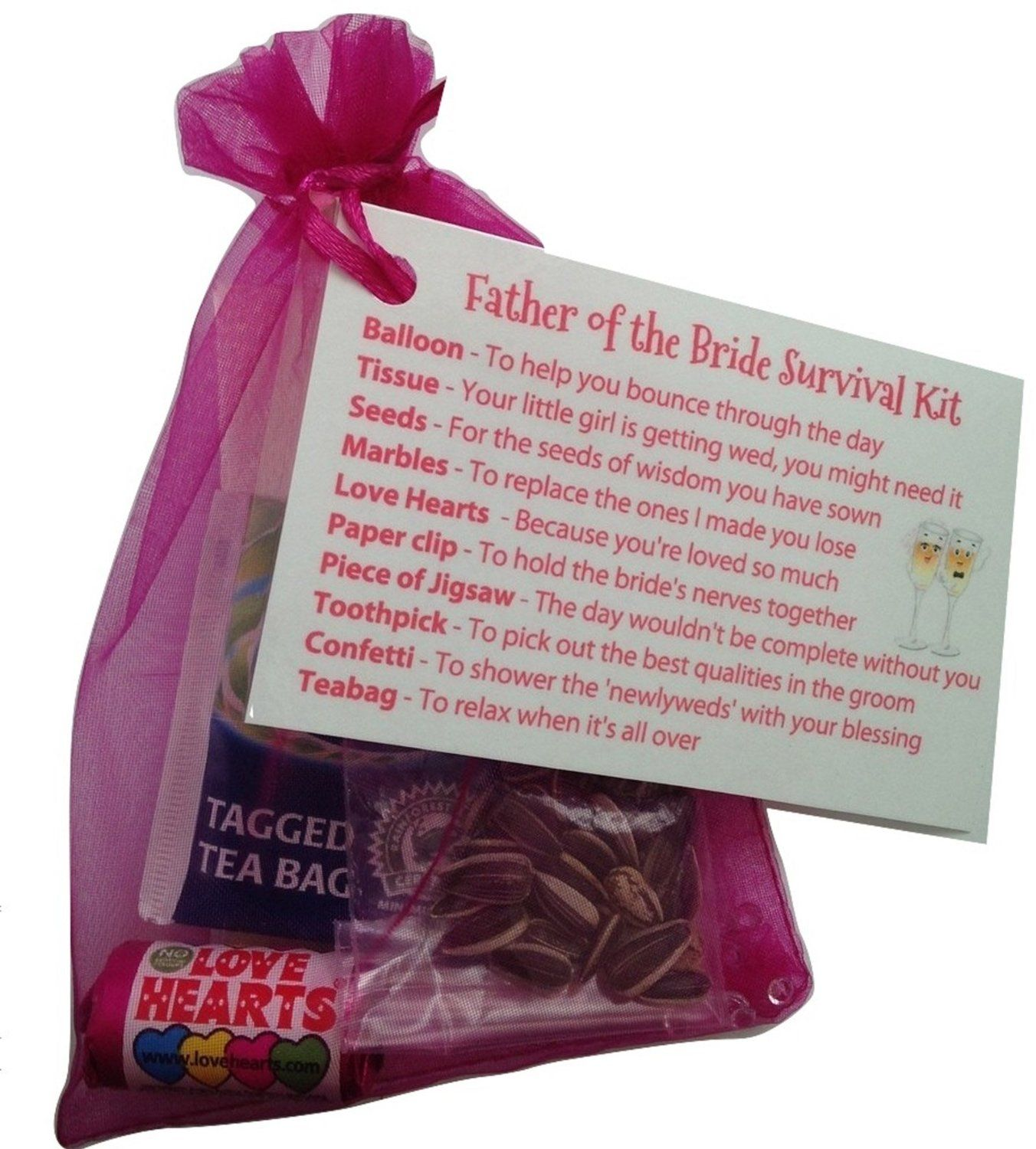 Father Of The Bride Survival Kit In FuschiaThank You Gift Card Keepsake