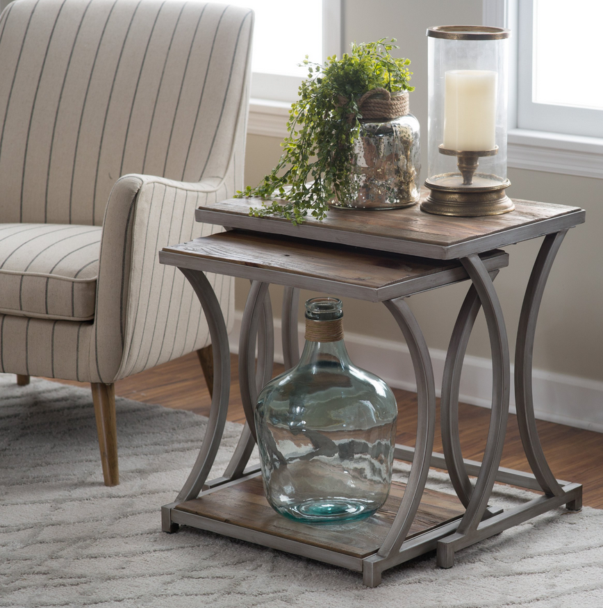 Awesome These Reclaimed Wood Nesting End Tables Will Easily Add Industrial Glam  Style To Your Living Space. Both Tables Are Topped With Authentic Reclaimed  Fir And ...