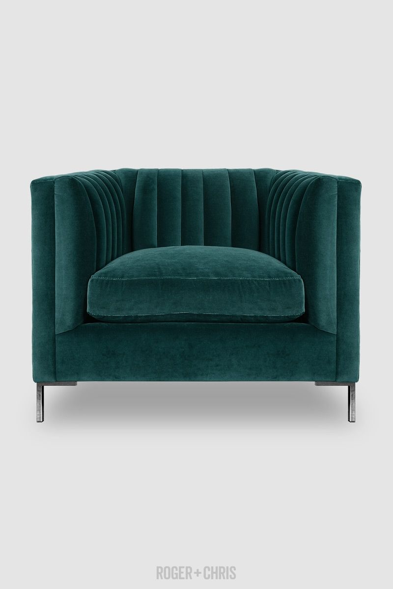 Harley Channel Tufted Shelter Arm Chair In Henry Peacock Velvet With  Stainless Steel Legs